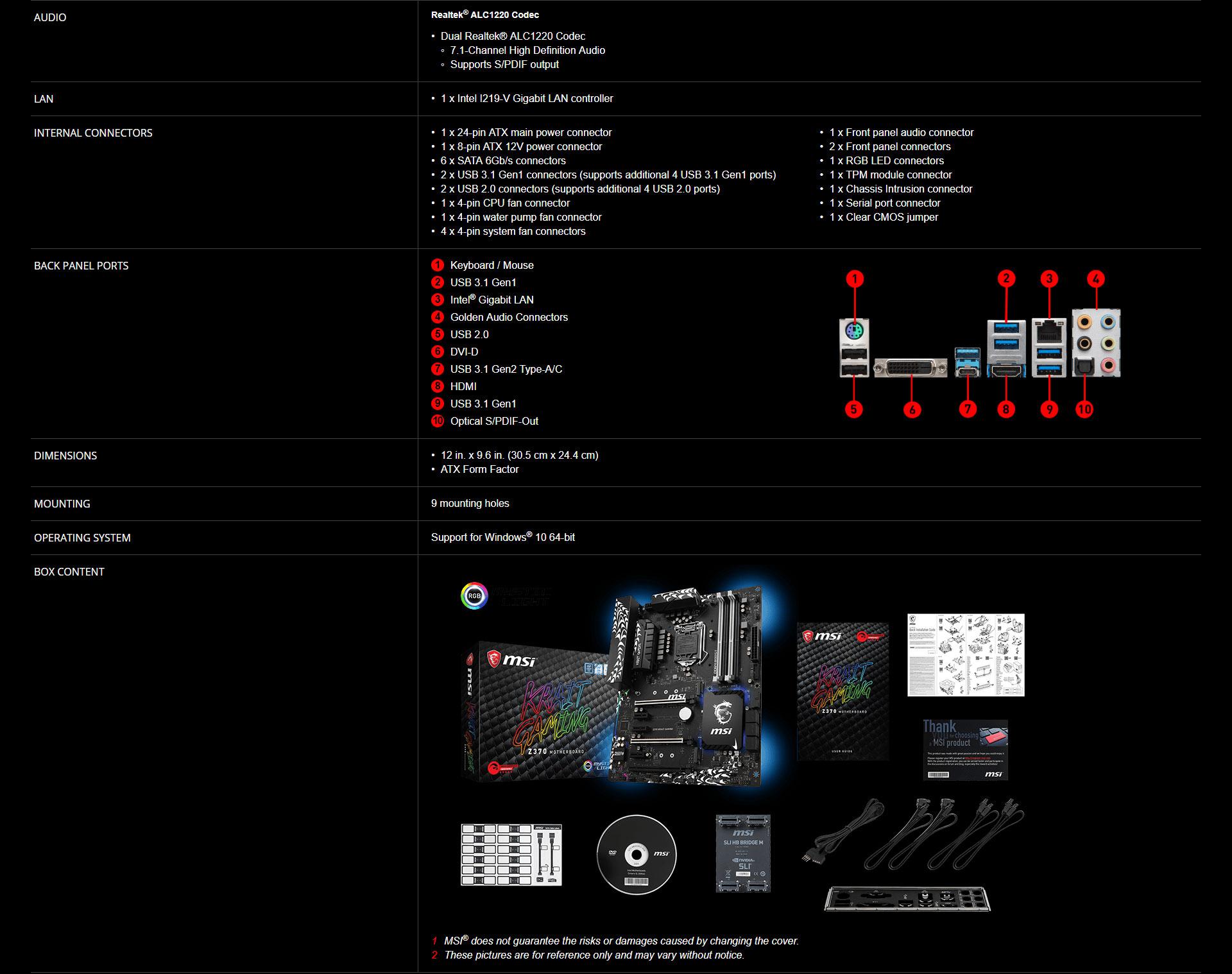 MSI Z370 KRAIT GAMING LGA1151 DDR4 - Strek (Thailand) Co ,Ltd